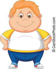 Fat boy cartoon posing - Vector illustration of Fat boy...