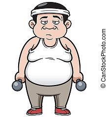 Fat man - Vector illustration of Fat man with dumbbells