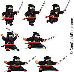 Fat Ninja Animation Sprite - Vector Illustration of Fat...