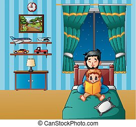 Father and his son reading a book in bed at night - Vector...