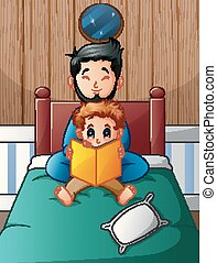 Father and his son reading a book in bed