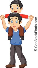 Father giving his son piggyback - Vector illustration of ...