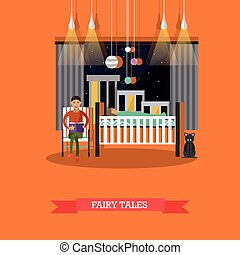 Vector illustration of father reading his child fairy tales
