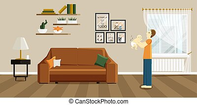 Vector Illustration of Father Scare and Baby Poop