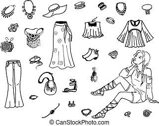 Vector illustration of female clothing
