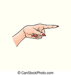 Vector illustration of female hand pointing or showing with index finger in sketch style.
