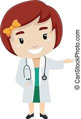 Female Kid wearing a Doctor Uniform
