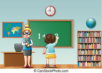 Female teacher with school girl in a classroom