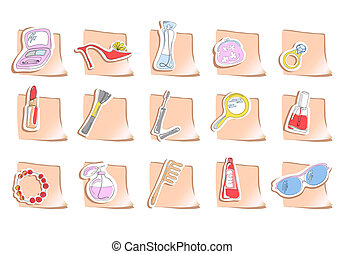 elements of beauty - Vector illustration of fifteen square...
