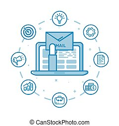 Vector illustration of filled bold outline hand holding envelop and coming out from laptop and open email on screen.