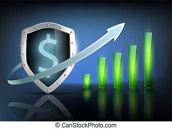 vector illustration of financial graph chart