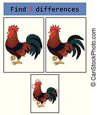 Find 5 differences (Rooster) - Vector Illustration of Find 5...