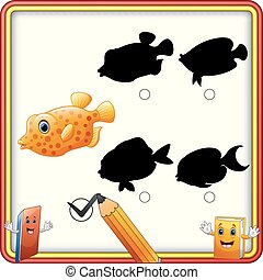 Find the correct shadow. Cartoon funny fish. Education Game for Children