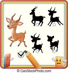 Find the correct shadow. Cartoon funny impala posing....