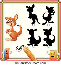 Find the correct shadow. Cartoon funny kangaroo. Education Game for Children