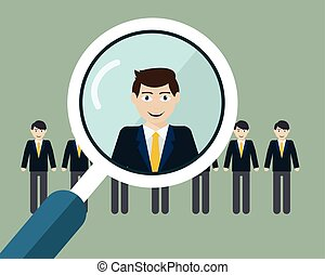 Vector illustration of finding professional staff with magnifying glass