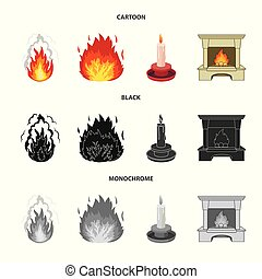 Vector illustration of fire and flame sign. Set of fire and fireball stock symbol for web.