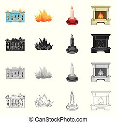 Vector illustration of fire and flame sign. Set of fire and fireball vector icon for stock.