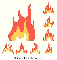 Vector illustration of fire and red logo. Collection of fire and campfire vector icon for stock.
