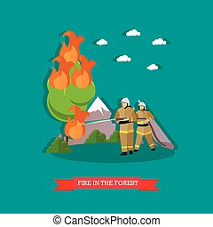Vector illustration of fire in the forest in flat style.