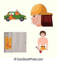 Vector illustration of firefighters and fire icon. Collection of firefighters and equipment stock symbol for web.