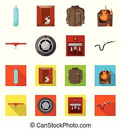 Vector illustration of firefighters and fire symbol. Collection of firefighters and equipment stock symbol for web.