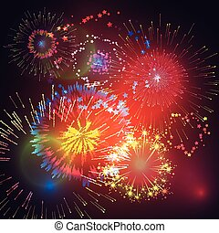 Vector illustration of fireworks an