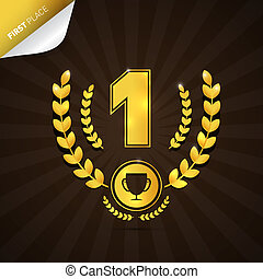 Vector Illustration of First Place, Gold Medal Theme on Dark...
