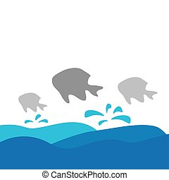 vector illustration of fish and sea waves