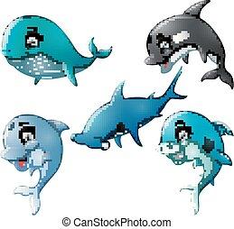 Fish cartoon set collection