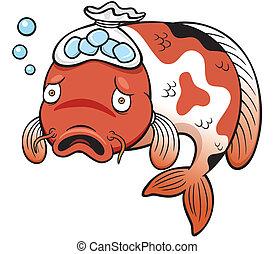 Fish sick - Vector illustration of Fish sick cartoon