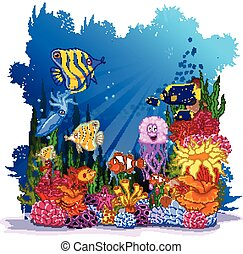 fish with sea life background
