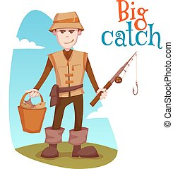 Vector illustration of fisherman