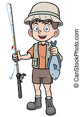 fisherman - Vector illustration of fisherman holding fish