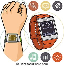 Vector illustration of fitness band, smart watch.