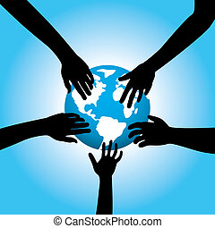 five hands touching earth
