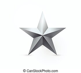 Vector illustration of five-pointed metal star design