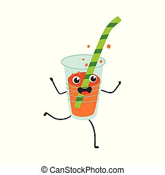 Vector illustration of fizzy soda in plastic cup with straw cartoon character.
