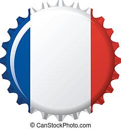 flag of France in crown cap