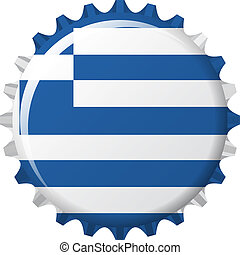 flag of greece in crown cap