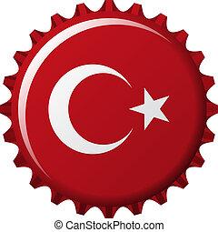 flag of turkey in crown cap shape