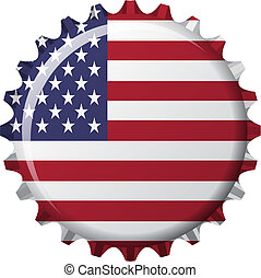 vector illustration of flag of united state of america in crown cap shape