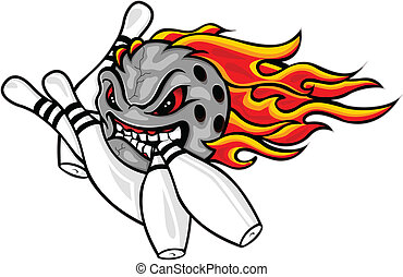 Flaming bowling ball - vector illustration of Flaming...