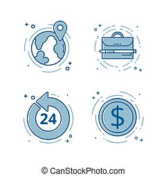 Vector illustration of flat bold line icon. Concept of open 24 7