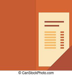 Vector illustration of flat cartoon restaurant bill.