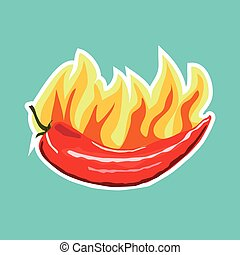 Vector illustration of flat chili pepper sticker with fire.