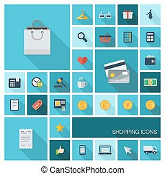 Vector illustration of flat color icons with long shadow for Retail commerce and marketing, Shopping