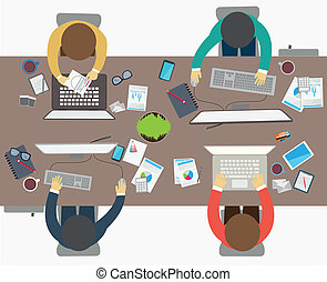 Vector Illustration of Flat design style of business meeting, office worker