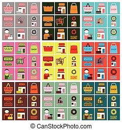 Vector illustration of flat icons set shop