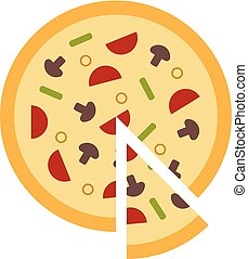 Vector illustration of flat italian pizza with a slice.